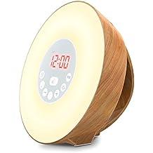 COULAX Wake-Up Light, Despertador luz amanecer Función de Dormitar, 6 sonidos naturales 7 luz de noche multicolor 10 de brillo Alarma de radio FM, Pilas(no incluido) o cable USB. (Grano de madera)