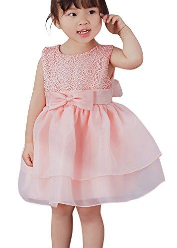 Happy Cherry Baby Taufkleid Süßes Ärmelloses Kleid Babymädchen Kleine Prinzessin Kleider mit Chiffon und Schleife Größe 24 für die Körpergröße ca.90cm(18-24 Monate) - Rosa (Kleine Kleid Schleife)