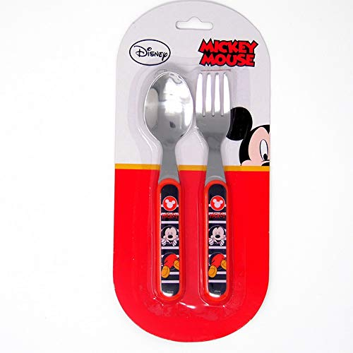 GUIZMAX Couvert, cuillère et Fourchette Mickey Disney Enfant bébé Metal