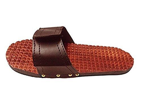 IndiaBigShop Handgefertigte Holzfuß Akupressur Pantoffel Massager, Fuß-Massagegerät, Ostern Tag/Muttertag / Karfreitag Geschenk