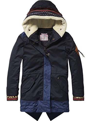 Scotch & Soda R'Belle Mädchen Mantel Parka with Ethnical Inspired Details, Blau...