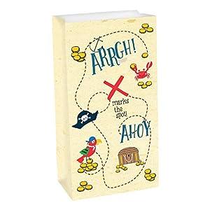 """Amscan International Amscan 372219 - Bolsa para fiesta (8 unidades), diseño con texto""""Ahoy Birthday"""", color blanco y negro"""