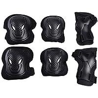 TUPWEL 6 en 1 Set Adulto Hombre/Mujer Negro Seguridad Protectiva Gear Pads Rodillera Codo Muñequera Almohadillas Protección para Patinaje Ciclismo Monopatín Rodillo Deportes al Aire Libre