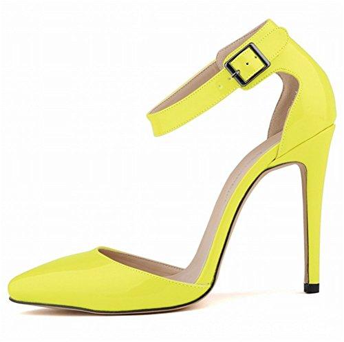 Wealsex Escarpins Sandale Bride Cheville Boucle Vernis PU Cuir Bout Pointu Talon Aiguille Chaussure de Soirée Mariage Sexy Mode Talon 11 Cm Femme jaune foncé