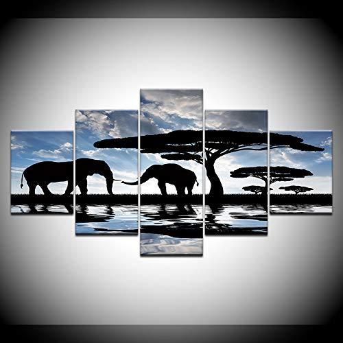 JRYYQQ 5 Leinwand drucke Elefanten Baum Print Poster Leinwand Kunst 5 Panel Leinwand Malerei Wandkunst Modulare Bilder Für Wohnkultur Kunstwerk Drucke Auf Leinwand