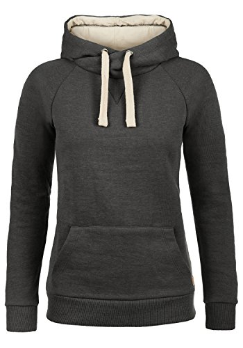 BlendShe Julia Damen Damen Hoodie Kapuzenpullover Pullover Mit Kapuze Und Cross-Over-Kragen, Größe:XS, Farbe:Charcoal (70818) - Crossover Neck Sweater