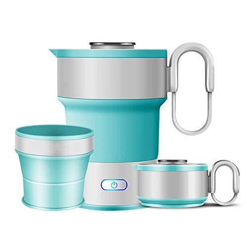 JANEFLY 0.6L Faltbarer elektrischer Reisewasserkocher, Nahrungsmittelgrad-Silikon-Reisewasserkocher, schnell gekochter tragbarer ruhiger Mehrzweckeinfacher u. Bequemer Speicher 110-240v,A (Tee-und Wasserkocher Ruhigen)