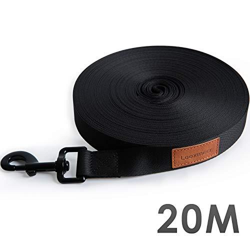 Looxmeer Schleppleine 20m für Hunde Robuste Hundeleine mit Handschlaufe, D-Karabiner und Aufbewahrungsbeutel, Schwarz