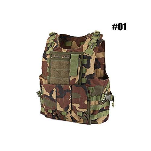 Taktische Weste Einstellbar Kampfweste Molle Schutzweste Einsatzweste Sportbekleidung mit Abnehmbare Beutel für Jagd Paintball Airsoft CS, Schutzkleidung Brustschützer (#01 - Forest Camouflage)