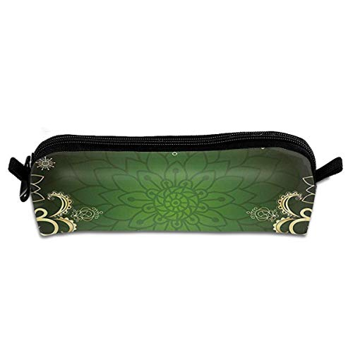Arabesque Frame With Lotus Shade Floral Swirls Little Hearts And Dots Decorative Students Pencil Case Pen Pouch Work Office Craft Supplies Boys Girls