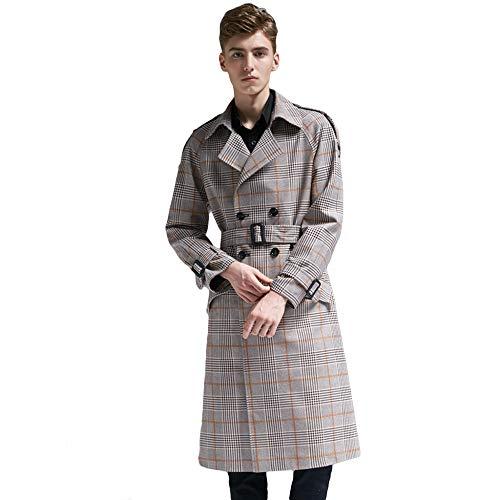 MERRYHE Check Suit Große Mäntel Für Männer Klassische Revers Trenchcoat Mode Mantel Lange Zweireiher Jacke Oberbekleidung,Yellow-L(Bust/108cm)