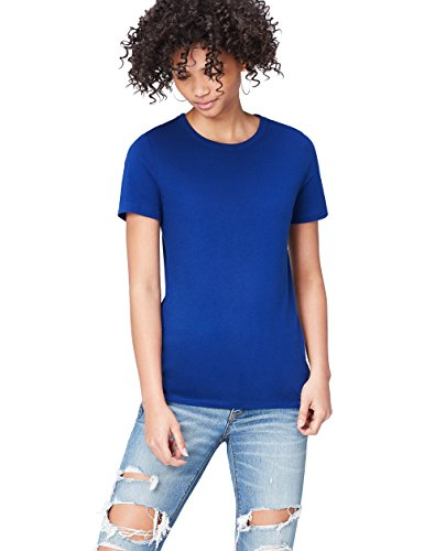 FIND Damen T-Shirt Crew Neck Blau, 34 (Herstellergröße: X-Small) (Blau Kurzarm-shirt)