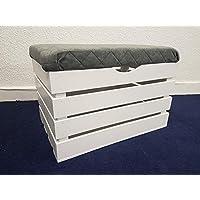 Preisvergleich für DECOCRAFT Groß Weiß Ottoman Sitzbank Box Holz Schatztruhe pouffee (PLG)
