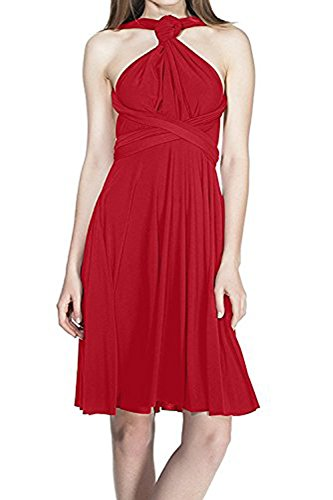 Damen Frauen Multi-tragen Abendkleid Brautjungfer Knielänge Kleid Multiway Kurzes Kleider Elegant Sommer Verbandkleid Trägerkleid Strandkleid Cocktailkleid Partykleid Rot 40 (Maxi-kleid Wickeln)