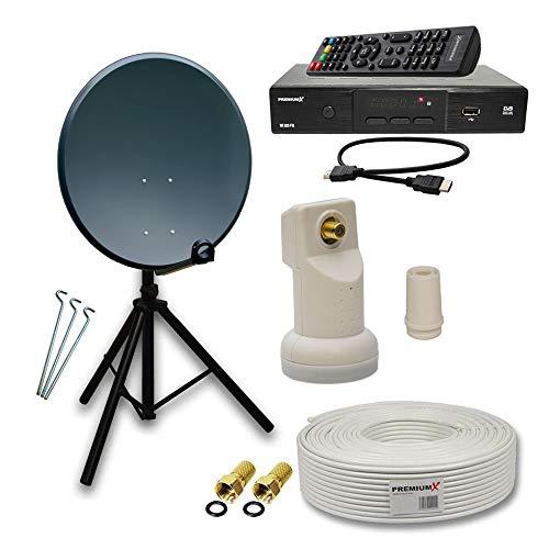 PremiumX Camping komplett Sat Anlage Set 60cm Anthrazit Antenne mit Single LNB + Sat Stativ Dreibein Alu. 3X Stahl-Heringe verzinkt + 10m KoaX TV-Kabel mit F-Stecker + HDTV Digital Receiver DVB-S2