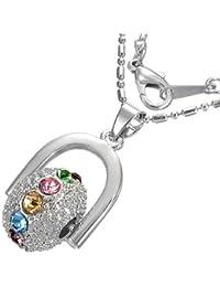 Mode Kristall drehbare Kugel Charm Halskette mit Schmucksteinen - Bunt