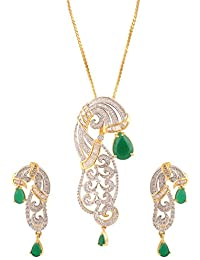 Swasti Jewels American Diamond Peacock Shaped CZ Zircon Fashion Jewellery Set Pendant Earrings For Women