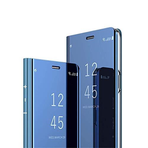 COTDINFOR Huawei P9 + Ledertasche Handyhülle Cool Männer Mädchen Slim Clear Crystal Spiegel Flip Ständer Etui Hüllen Schutzhüllen für Huawei P9 Plus Mirror PU Blue MX.