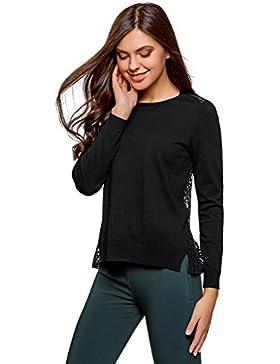oodji Collection Mujer Jersey con Espalda de Encaje