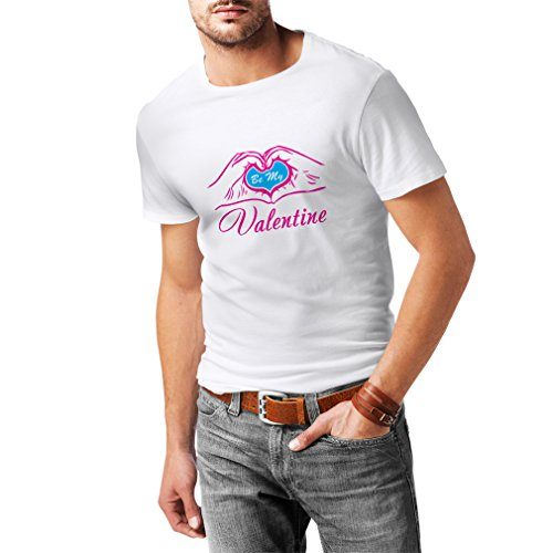 N4153 T-shirt da uomo Be my Valentine love , great St. Valentine gift Bianco Magenta