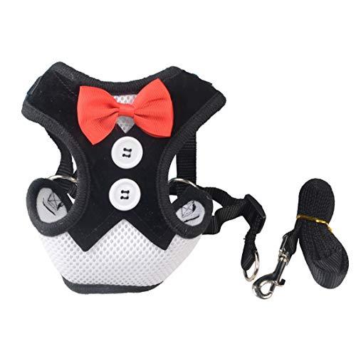 HOUYAZHAN Haustier-Versorgungsmaterialien kleine Hunde kleiden Kasten zurück Schmetterlings-Fliege-Brust-Bügel (Farbe : Black Stripe, Size : L) - Brust-kasten