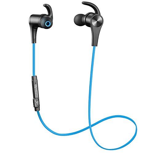 [Verbesserte Version] SoundPEATS Bluetooth Kopfhörer 4.1 Sport In Ear Kabellos AptX 8 Stunden Magnetisch mit Mikrofon Schweißfest geeignet für Jogging Fitness Workout Stereo Ohrhörer für iPhone Samsung und jedes andere Smartphone oder Bluetooth-Gerät ( Blau )