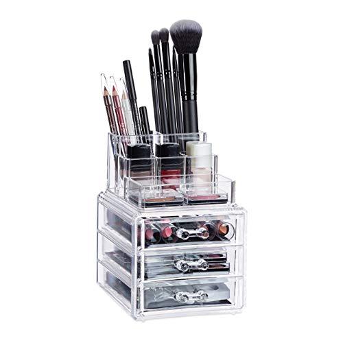 Relaxdays 10024641_50 Organisateur Maquillage 3 Tiroirs Support Cosmétiques Rouge à Lèvres Vernis à Ongles Acrylique Transparent, Résine, Standard
