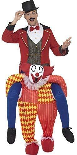 Fancy Me Herren Erwachsene Schritt darauf Reiten Gruselig Böser Clown Zirkus Karneval Lustig Halloween Gruslige Kostüm Kleid Outfit (Herren Böser Clown Halloween-kostüme)