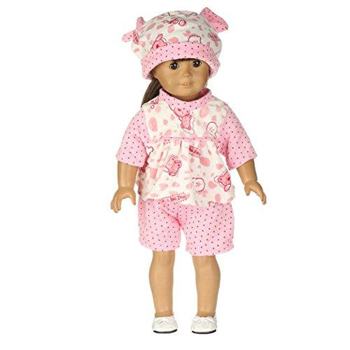 Babypuppen-Kleidung von Mingfa, Outfits für Puppen wie American Girl Doll oder Our Generation (Größe: 45,7cm), süßes Pyjama, Oberteil und Hose, Set Puppenzubehör