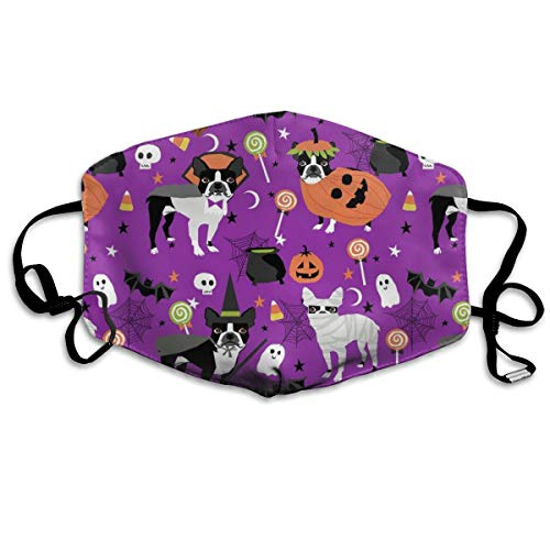 Boston Terrier Halloween Dog Costume Halloween Dog Dog Breed Witch Pumpkin Candy Cute Dog Purple Anti-dust Cotton Mouth Face Masks Reusable for Outdoor Half Face Masks (Boston Terrier Halloween)