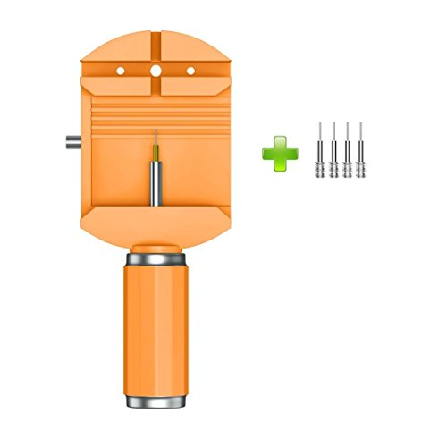 YUYOUG_watch strap yuyoug Professionelle Armbanduhr Band Armband Link Entferner Einstellen Repair Tool + 4 Ersatz-Pins, Orange