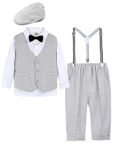 mintgreen Säugling Junge Anzug Set Weste Mantel Weiß Shirts Retro Hut (Hellgrau, 100/2-3 Jahre)