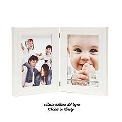 Idea Regalo - Cornice portafoto Doppia con cerniera bianco opaco,Shabby chic,puro legno foto13x18 brand L'arte italiana del legno Made in italy