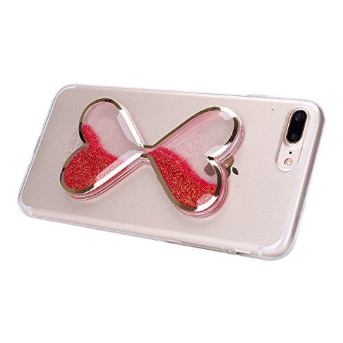 iPhone 7 Plus Hülle,SainCat Kreativ Weinglas Design 3D Transparent Soft Silikon Hülle Case Dynamisch Heart-shaped Sanduhr Treibsand Liquid Fließen Flüssig Schwimmend Tasche Handyhülle Glitter Glitzer  Sanduhr Treibsand-Scharlach