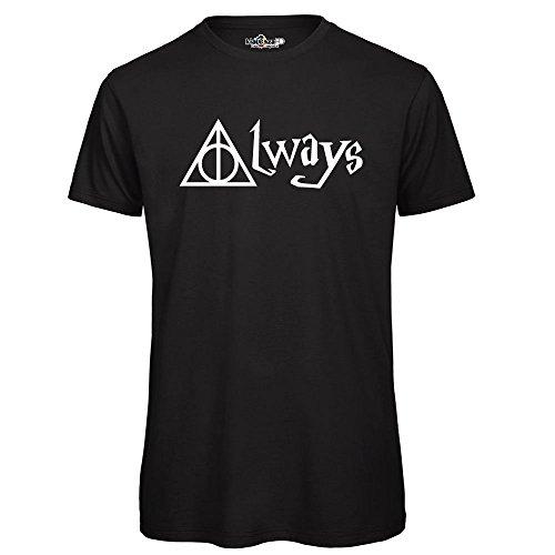 KiarenzaFD T Shirt Harry The Wizard Potter always Streetwear Shirts, TSBS_00026-S-Nero, Schwarz, Small