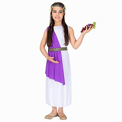 Mädchen Kostüm Cleopatra | Bezauberndes Kleid | inkl. Extravagantem Haarband + Handgelenkschmuck (8-10 Jahr | Nr. 300255)