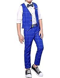 Chaleco de cuadros azul rojo a cuadros de boda chaleco vestido chaleco pantalones 2 piezas