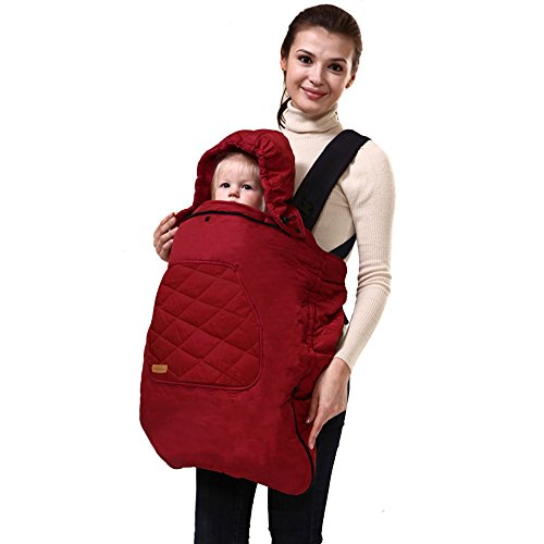 Bebamour Universal Baby Carrier Cover for Winter Warm Rain Cover (Red)