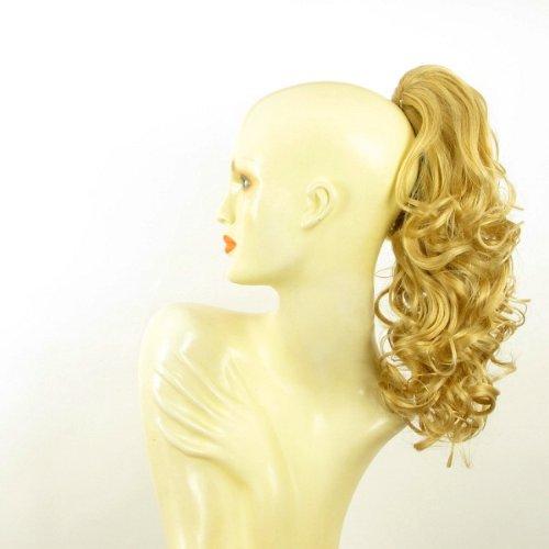 Postiche queue de cheval extension femme bouclée 40 cm blond clair doré ref 3 en lg26