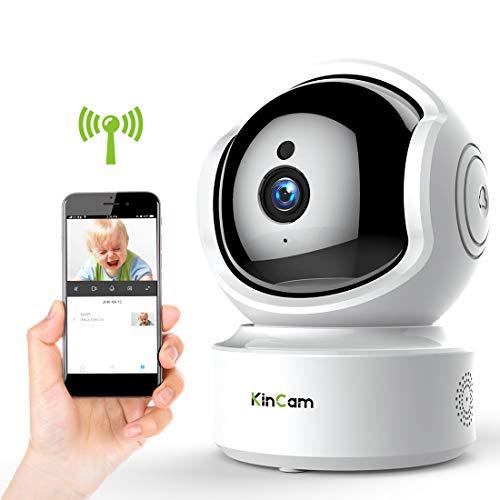 IP Kamera 1080P, KinCam WiFi Überwachungskamera Haustier Monitor, Cloud Speicher und Baby Monitor mit 350°/100°Schwenkbar/ Bewegungsmelder/Zwei-Wege-Audio/Nachtsicht für IOS, Android und Win7-10