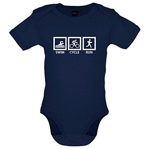 Dressdown Swim Cycle Run - Lustiger Baby-Body - Marineblau - 3 bis 6 Monate