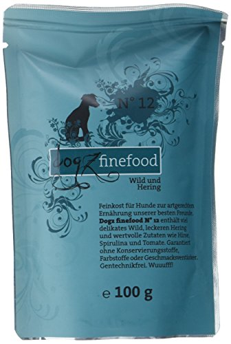 hundeinfo24.de Dogz finefood Hundefutter No.12 Wild & Hering 100g, 12er Pack (12 x 100 g)