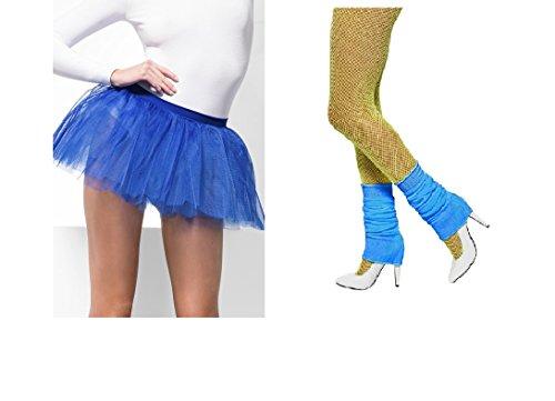 Womens Girls Fancy Dress Hen Night Hen Do Party 80's Madonna Theme Night Dance Blue Tutu and Leg Warmer Combo (Blue Tutu & Neon Blue Leg Warmers) (Womens Kostüme Dress Fancy)