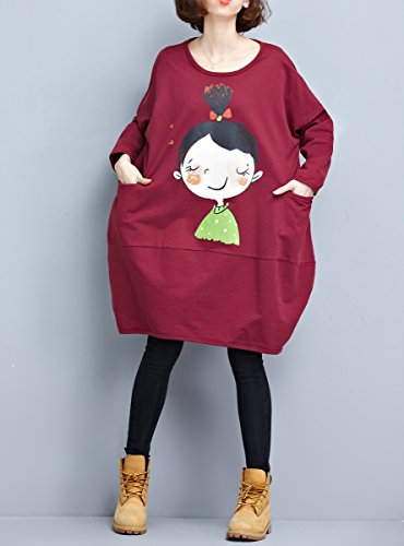 ELLAZHU Damen Baggy Rundhals Gedruckt Cartoon Langarm Sweatshirt Kleid GA1054 GA1054 Red