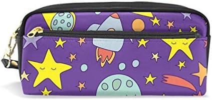 Bonipe Espace étoiles planètes avec fusées Trousse Pen Box Pochette Sac d'école papeterie Fournitures de voyage Cosmétique Sac de maquillage B07H6HTX52 | Pas Chers