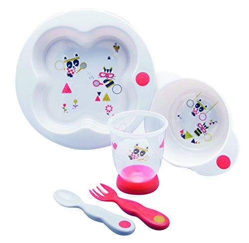 Bébé Confort Set de Repas Assiette + Bol + Verre + Cuillère + Fourchette en Plastique Sport