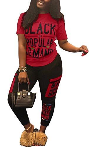 LKOUS Damen Casual 2-teiliges Outfits Anzug figurbetont kurzärmliges T-Shirt Top und Lange Hosen Trainingsanzug - Rot - Mittel