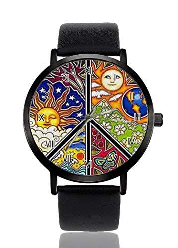 Peace-Zeichen Symbol Sixties Groovy Decor Armbanduhr für Herren Damen Casual Lederband Analog Quarz Unisex Mode Armbanduhr