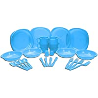 Choice of Blue or Green 26 Piece Plastic Picnic / BBQ / Festival / Camping / Party Set Including Plates, Bowls, Mugs, Knives, Forks, Spoons, Salt and Pepper Shaker (Blue)