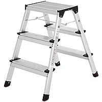 SONGMICS aluminio Escalera de tijera Escalera Plegable del Hogar Escalera de mano en ambos lados 2x3 etapas de capacidad 150 Kg GLT23K